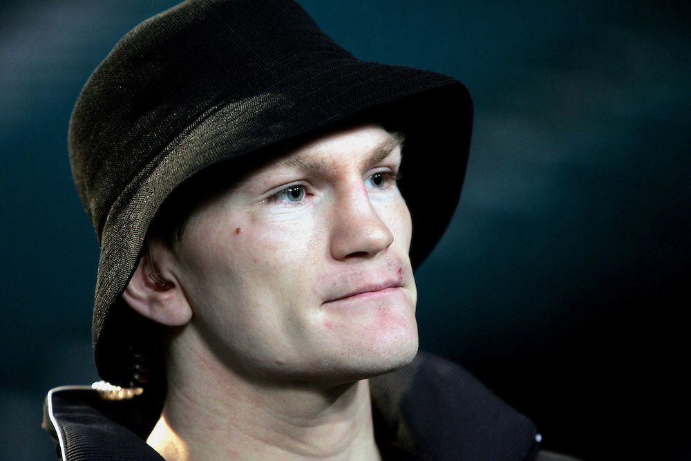 Ricky Hatton carries out his final TV interviews at the MGM Grand Garden Arena, Las Vegas, 6th December 2007.