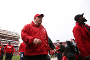 Assistant defensive line coach Mike Dawson exiting warm ups before the Nebraska Huskers Spring Game on April 21, 2018. Photo by Ryan Loco.