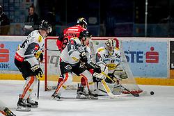 08.01.2017, Ice Rink, Znojmo, CZE, EBEL, HC Orli Znojmo vs Dornbirner Eishockey Club, 41. Runde, im Bild v.l. James Livingston (Dornbirner) Jan Lattner (HC Orli Znojmo) Brock McBride (Dornbirner) Florian Hardy (Dornbirner) // during the Erste Bank Icehockey League 41th round match between HC Orli Znojmo and Dornbirner Eishockey Club at the Ice Rink in Znojmo, Czech Republic on 2017/01/08. EXPA Pictures © 2017, PhotoCredit: EXPA/ Rostislav Pfeffer