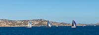 From left to right: AROBAS, WOHPE and LORINA, Rolex Maxi Cup 2017, Costa Smeralda, Porto Cervo Yacht Club Costa Smeralda (YCCS).