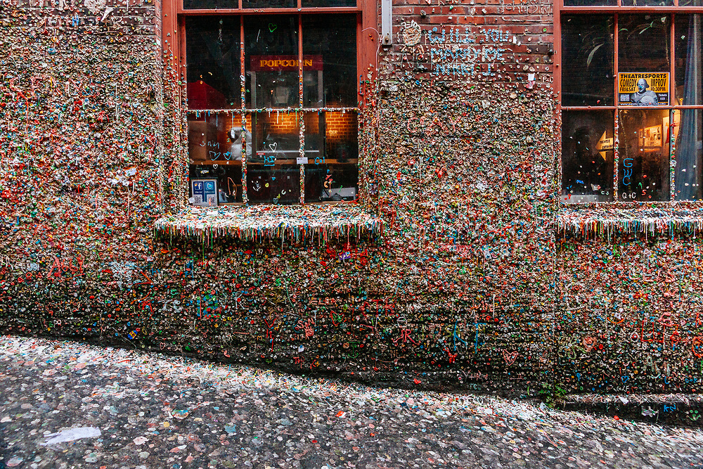 The bubble gum wall alley way in downtown Seattle, Washington.