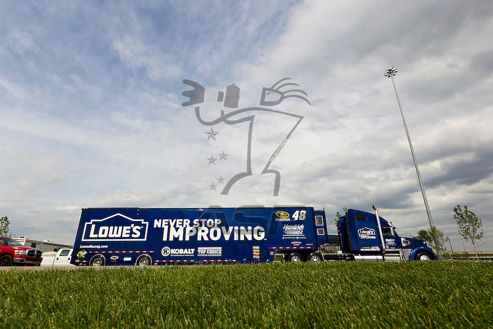 KANSAS CITY, KS - APR 19, 2012:  The Lowes hauler waits to park  for the STP 400 at the Kansas Speedway in Kansas City, KS.
