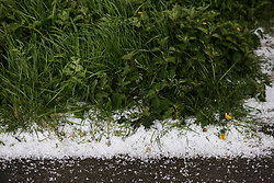 © Licensed to London News Pictures. 25/04/2017. Driffield, UK. A blanket of ice and hail covers the ground after an sudden hail shower in Driffield, East Yorkshire  Forecasters are predicting cold temperatures in Britain this week as it is set to be hit by an arctic blast. Photo credit : Ian Hinchliffe/LNP