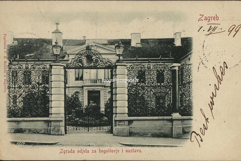 Zagreb : Zgrada odjela za bogoštovje u nastavu. <br /> <br /> Impresum[S. l. : S. n., 1899].<br /> Materijalni opis1 razglednica : tisak ; 9,1 x 14,2 cm.<br /> Vrstavizualna građa • razglednice<br /> ZbirkaZbirka razglednica • Grafička zbirka NSK<br /> Formatimage/jpeg<br /> PredmetZagreb –– Opatička<br /> Hrvatski institut za povijest (Zagreb)<br /> SignaturaRZG-OPAU-4<br /> Obuhvat(vremenski)19. stoljeće<br /> PravaJavno dobro<br /> Identifikatori000952682<br /> NBN.HRNBN: urn:nbn:hr:238:338806 <br /> <br /> Izvor: Digitalne zbirke Nacionalne i sveučilišne knjižnice u Zagrebu