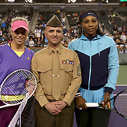 March 11, 2016, Palm Springs, CA:<br /> Coin toss before a match between Serena Williams and Laura Siegemund during the 2016 BNP Paribas Open at the Indian Wells Tennis Garden in Indian Wells, California Friday, March 11, 2016.<br /> (Photos by Billie Weiss/BNP Paribas Open)