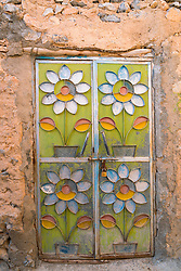 ornate house frontt door in old traditional village of Misfat al Abryeen in Oman Middle East
