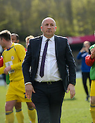 Accrington manager John Coleman celebrating after winning the League 2 match between Wycombe Wanderers and Accrington Stanley at Adams Park, High Wycombe, England on 30 April 2016. Photo by David Charbit.
