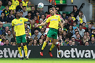 Mario Vrancic of Norwich wins a header during the Sky Bet Championship match at Carrow Road, Norwich<br /> Picture by Paul Chesterton/Focus Images Ltd +44 7904 640267<br /> 23/09/2017