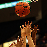 Hands reach for the ball during the Connecticut V Syracuse Semi Final match during the Big East Conference, 2013 Women's Basketball Championships at the XL Center, Hartford, Connecticut, USA. 11th March. Photo Tim Clayton