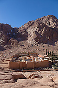 Saint Catherine's Monastery (also known as Santa Katarina), Mount Sinai, Egypt. The monastery is Orthodox and is a UNESCO World Heritage Site. Built between 548 and 565, the monastery is one of the oldest working Christian monasteries in the world. A Fatimid mosque was built within the walls of the monastery, but it has never been used since it is not correctly oriented towards Mecca.