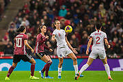 Jill Scott (England) gets the ball away supported by Lucy Bronze (England) during the International Friendly match between England Women and Germany Women at Wembley Stadium, London, England on 9 November 2019.