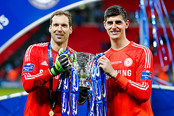 Chelsea goalkeepers Petr Cech and Thibaut Courtois pose with the League Cup Trophy after winning the Capital One Cup Final - Photo mandatory by-line: Rogan Thomson/JMP - 07966 386802 - 01/03/2015 - SPORT - FOOTBALL - London, England - Wembley Stadium - Chelsea v Tottenham Hotspur - Capital One Cup Final.