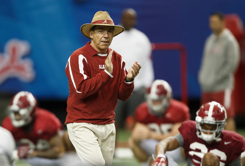 Alabama Crimson Tide coaches and players practice on December 27, 2016 at the Georgia Dome in Atlanta. Alabama Crimson Tide faces the Washington Huskies in the 2016 Chick-fil-A Peach Bowl Playoff Semifinal on New Year's Eve, with the winner advancing to the National Championship. (Jason Parkhurst / Abell Images for the Chick-fil-A Peach Bowl)