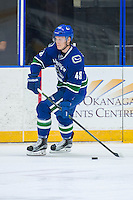PENTICTON, CANADA - SEPTEMBER 16: Olli Juolevi #48 of Vancouver Canucks skates with the puck against the Edmonton Oilers on September 16, 2016 at the South Okanagan Event Centre in Penticton, British Columbia, Canada.  (Photo by Marissa Baecker/Shoot the Breeze)  *** Local Caption *** Olli Juolevi;