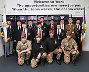 Veterans and current soldiers from the Black Watch in the home dressing room at Dens Park<br /> <br /> Dundee are offering free tickets for the Ross County match to current and former members of the Armed Forces.<br /> <br /> &copy; David Young<br /> davidyoungphoto@gmail.com<br /> www.davidyoungphoto.co.uk
