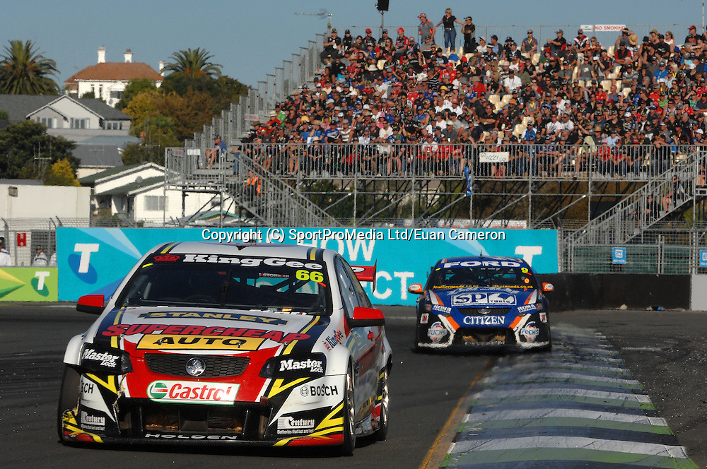 Russell Ingall from the Gold Coast, in his Holden  here leading Shane Van Gisbergen during Race 1, on Saturday 21th April at the ITM 400 at Hamilton.