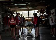 Plovdiv BULGARIA. 2017 FISA. Rowing World U23 Championships. <br /> DEN BW8+, weight their boat. [Empacher] Friday Boat Area. Boat Racks Pontoons.<br /> <br /> 08:34:20  Friday  21.07.17   <br /> <br /> [Mandatory Credit. Peter SPURRIER/Intersport Images].