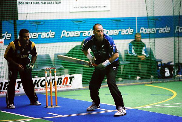 Colin Taylor, New Zealand Men, batting against Sri Lanka.<br /> 2003 Indoor Cricket World Masters Championships, Christchurch, New Zealand