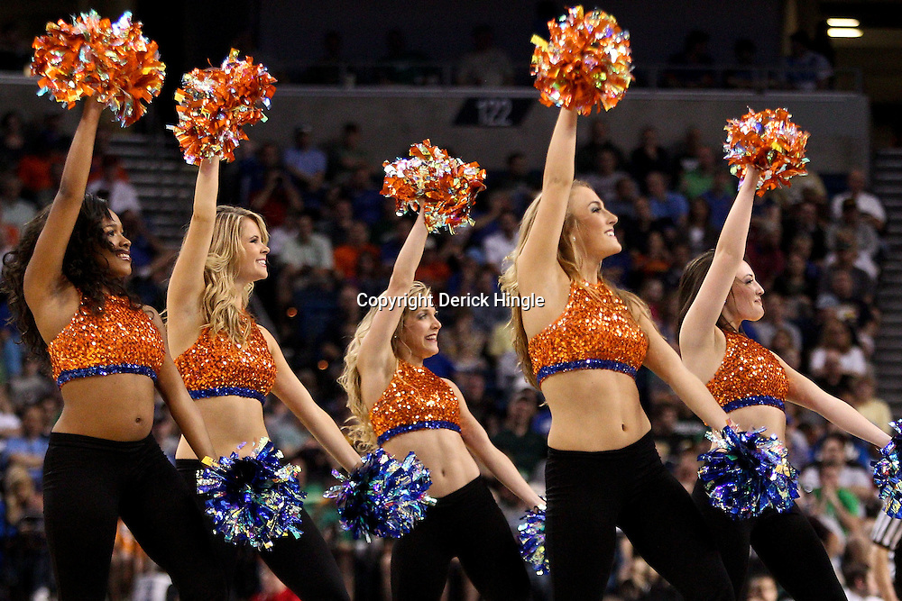 Mar 17, 2011; Tampa, FL, USA; Florida Gators cheerleaders during second half of the second round of the 2011 NCAA men's basketball tournament against the UC Santa Barbara Gauchos at the St. Pete Times Forum. Florida defeated UCSB 79-51.  Mandatory Credit: Derick E. Hingle