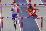 Tim Duckworth (Great Britain) and Jorge Urena (Spain) in the Men's Pentathlon, 60m Hurdles, during the European Athletics Indoor Championships at Emirates Arena, Glasgow, United Kingdom on 3 March 2019.