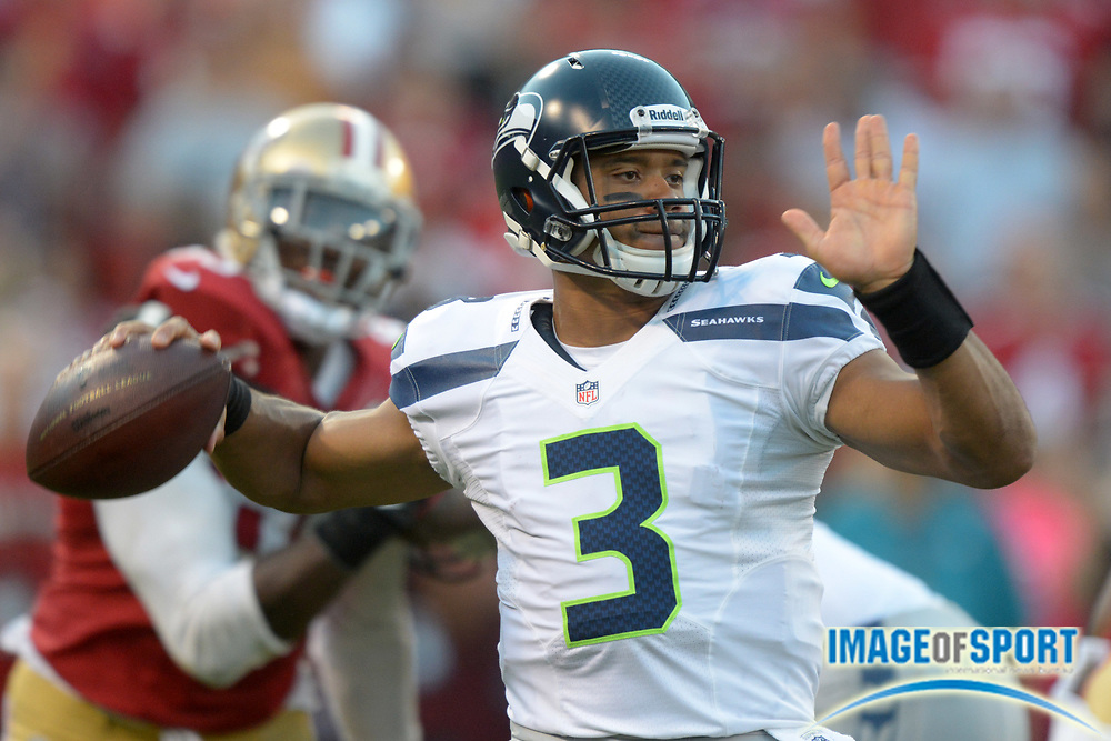 Oct 18, 2012; San Francisco, CA, USA; Seattle Seahawks quarterback Russell Wilson (3) throws a pass against the San Francisco 49ers at Candlestick Park.