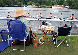 © licensed to London News Pictures. LONDON, UK.  29/06/11. Spectators at the 162nd Henley Royal Regatta today (29 June 2011).  World and Olympic champions are amongst the 302 crews competing in 294 races over the next five days. Henley Royal Regatta was first held in 1839 and has been held annually ever since, except during the two World Wars. Originally staged by the Mayor and people of Henley as a public attraction with a fair and other amusements, the emphasis rapidly changed so that competitive amateur rowing became its main purpose.Henley Royal Regatta 2011 is being held from Wednesday 29th June to Sunday 3rd July.. Mandatory Credit Stephen Simpson/LNP