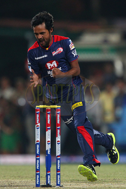 Shahbaz Nadeem celebrates the wicket of Manoj Tiwary during the opening match of the Pepsi Indian Premier League between the Kolkata Knight Riders and The Delhi Daredevils  held at the Eden Gardens Stadium in Kolkata on the 3rd April 2013..Photo by Ron GauntSPORTZPICS/IPL..Use of this image is subject to the terms and conditions as outlined by the BCCI. These terms can be found by following this link:..http://www.sportzpics.co.za/image/I0000SoRagM2cIEc