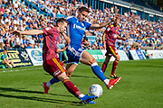 Ipswich Town defender Aristote Nsiala (22) and Gillingham FC forward Brandon Hanlan (7) during the EFL Sky Bet League 1 match between Gillingham and Ipswich Town at the MEMS Priestfield Stadium, Gillingham, England on 21 September 2019.
