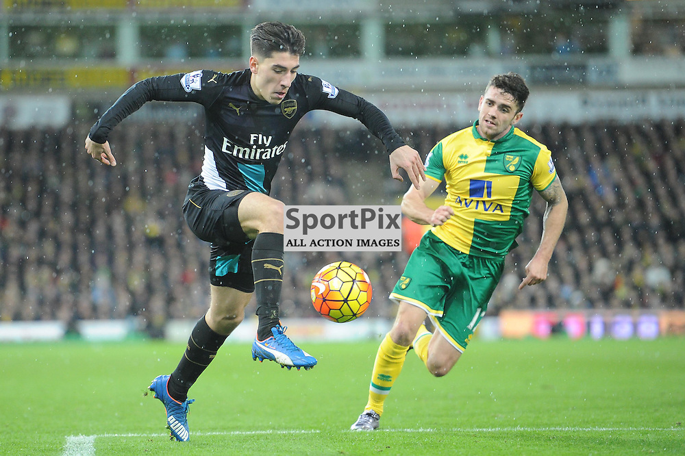 Arsenals Hector Bellerin in action during the Norwich v Arsenal game in the Barclays Premier League on Sunday 29th November 2015 at Carrow Road