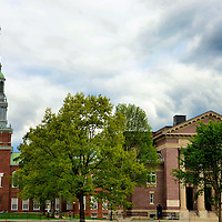 Dartmouth College's Baker Memorial Library in Hanover, New Hampshire<br /> What started as a missionary school in 1755 emerged into Dartmouth College. This is the smallest of the eight Ivy League schools. Dartmouth is frequently ranked among the top ten undergraduate programs in the country. The campus is located in Hanover. The small New Hampshire town is frequently ranked as a great place to live. The Fisher Ames Baker Memorial Library was built in 1928. The design mimics Independence Hall in Philadelphia.