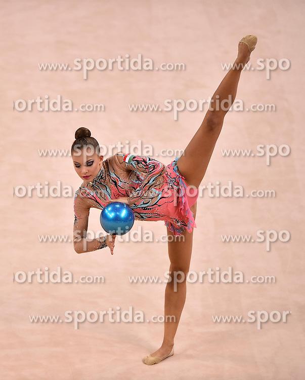 08.09.2015, Porsche Arena, Stuttgart, GER, Gymnastik WM, Gruppe D, im Bild Lili Margaritisz (HUN) Ball // during the World Rhythmic Gymnastics Championships at the Porsche Arena in Stuttgart, Germany on 2015/09/08. EXPA Pictures &copy; 2015, PhotoCredit: EXPA/ Eibner-Pressefoto/ Weber<br /> <br /> *****ATTENTION - OUT of GER*****