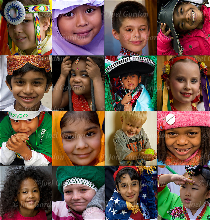 Sixteen photographs of  children from different parts of the world.  African American, Asian American, Caucasian, East Indian, Korean, Irish American,  Greek, Laotian, Mexican, Muslim,  Native American,  Ukrainian