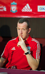 KUALA LUMPUR, MALAYSIA - Saturday, July 16, 2011: Liverpool's new signing Charlie Adam in a press conferene in place of the absent Kenny Dalglish at the National Stadium Bukit Jalil in Kuala Lumpur on day six of the club's Asia Tour. (Photo by David Rawcliffe/Propaganda)