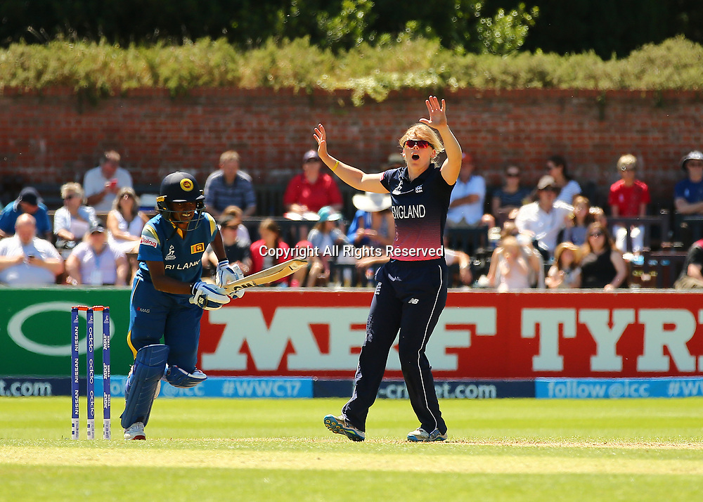 July 2nd 2017, The Cooper Associates County Ground, Taunton, England; The ICC Womens World Cup; England Women versus Sri Lanka Women;  Heather Knight of England reacts after she comes close to taking a wicket