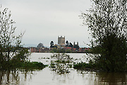 General Views of Tewkesbury Abbey from the  rivers near Tewkesbury on May 1st 2012 as UK record rainfall causes flooding..Photo Times Photographer /Ki Price .....