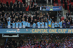 Manchester City's Vincent Kompany lifts the Capital One Cup - Photo mandatory by-line: Dougie Allward/JMP - Tel: Mobile: 07966 386802 02/03/2014 - SPORT - FOOTBALL - London - Wembley Stadium - Manchester City v Sunderland - Capital One Cup Final
