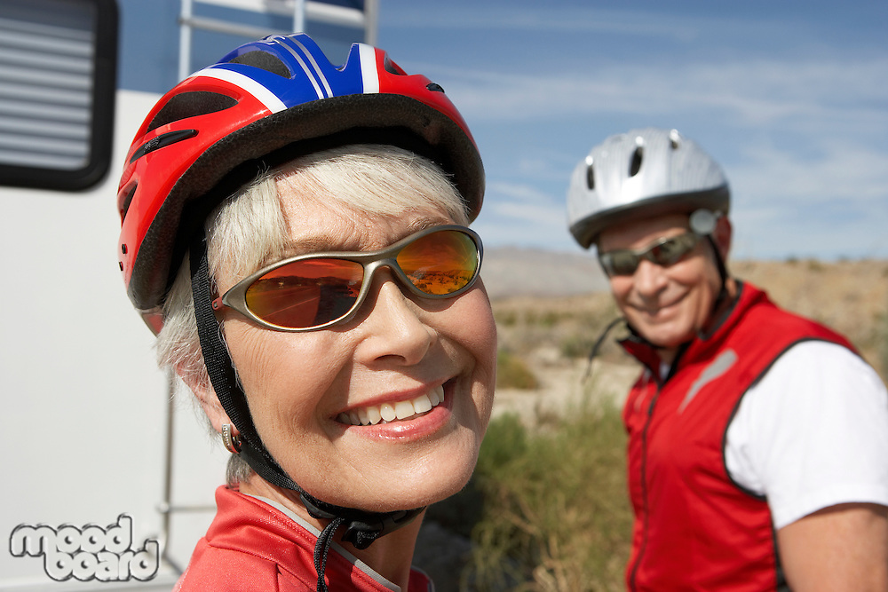 Smiling Couple Out for a Bicycle Ride