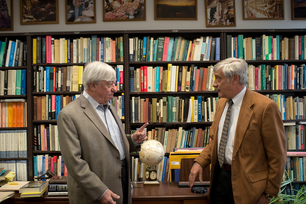 Robert Gordon, left and Joel Mokyr have a spirited conversation Tuesday, April 29, 2014, in Gordon's office on the campus of Northwestern University in Evanston, ILL.<br /> CREDIT: Rob Hart for The Wall Street Journal<br /> SLUG: GROWTH