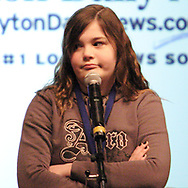 Rebecca Noelle Martin, from Ohio Virtual Academy, reacts to the bell when she spelled her word incorrectly at the 2007 Regional Spelling Bee, at Sinclair Community College, Saturday morning.