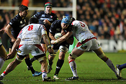Jordan Crane (Leicester) goes on the charge - Photo mandatory by-line: Patrick Khachfe/JMP - Tel: Mobile: 07966 386802 18/01/2014 - SPORT - RUGBY UNION - Welford Road, Leicester - Leicester Tigers v Ulster Rugby - Heineken Cup.