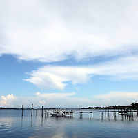 General view of docks in the water along the Lemon Bay/Myakka Scenic Trail in Englewood, Florida. (AP Photo/Alex Menendez) Florida scenic highway photos from the State of Florida. Florida scenic images of the Sunshine State.