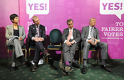 © licensed to London News Pictures. LONDON UK. 27/04/11. (L-R) Katie Ghose, Tim Farron, Nigel Farage, Alan Johnson listen to Caroline lucas' speech. A News conference held today (27 April 2011) in Church House, London. The conference was introduced by Katie Ghose with Lib Dem President Tim Farron, Green Party Leader Caroline Lucas, UKIP leader Nigel Farage and  Labour's  Alan Johnson, supporting a Yes for the Alternative Vote. Photo credit should read Stephen Simpson/LNP