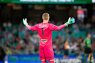 SYDNEY, AUSTRALIA - APRIL 06: Sydney FC goalkeeper Andrew Redmayne (1) with his arms out at round 24 of the Hyundai A-League Soccer between Sydney FC and Melbourne Victory on April 06, 2019, at The Sydney Cricket Ground in Sydney, Australia. (Photo by Speed Media/Icon Sportswire)