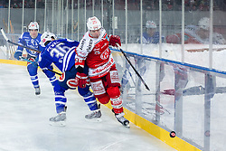 03.01.2015, Klagenfurter Wörthersee Stadion, Klagenfurt, AUT, EBEL, EC KAC vs EC VSV, 35. Runde, in picture Marco Pewal (EC VSV, #36) vs Kirk Furey (EC KAC, #25) during the Erste Bank Icehockey League 35. Round between EC KAC and EC VSV at the Klagenfurter Wörthersee Stadion, Klagenfurt, Austria on 2015/01/03. Photo by Matic Klansek Velej / Sportida
