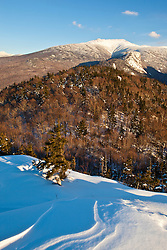 Mount Lafayette in winter in New Hampshire's White Mountains. Franocnia Notch State Park.