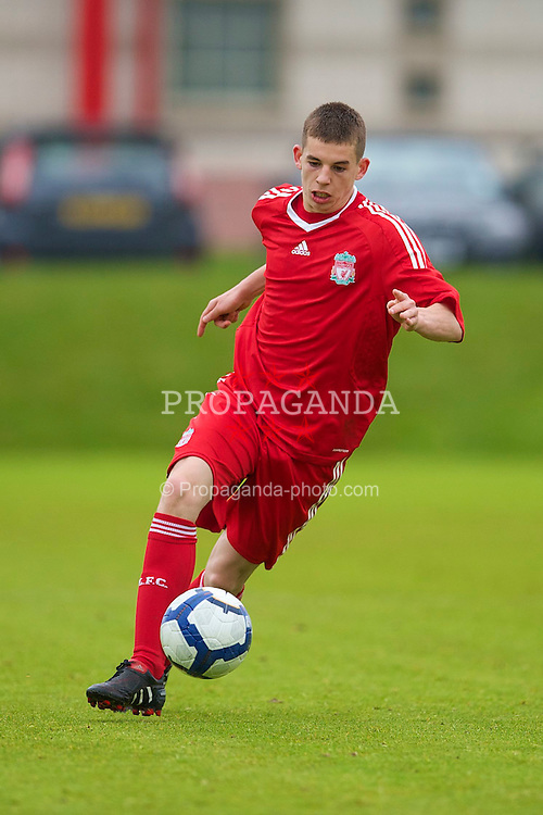 LIVERPOOL, ENGLAND - Thursday, April 29, 2010: Liverpool's John Flanagan in action against Leeds United during the FA Academy Under-18's League at the Academy. (Photo by David Rawcliffe/Propaganda)