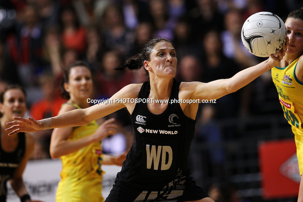 Silver Fern's Anna Harrison with an intercept. New World Quad Series, New Zealand Silver Ferns v Australian Diamonds at Claudelands Arena, Hamilton, New Zealand. Thursday 1st November 2012. Photo: Anthony Au-Yeung / photosport.co.nz