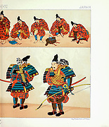 Ancient Japanese fashion, weapons and accessories from Geschichte des kostüms in chronologischer entwicklung (History of the costume in chronological development) by Racinet, A. (Auguste), 1825-1893. and Rosenberg, Adolf, 1850-1906, Volume 1 printed in Berlin in 1888