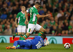 Ireland's Jon Walters go past Oman goalkeeper Faiz Al Rushaidi - Mandatory by-line: Ken Sutton/JMP - 31/08/2016 - FOOTBALL - Aviva Stadium - Dublin,  - Republic of Ireland v Oman -