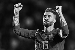 September 11, 2018 - Elche, Alicante, Spain - (EDITORS NOTE: the image has been converted to black and white) Sergio Ramos of Spain celebrates a goal during the UEFA Nations League A group four match between Spain and Croatia at Manuel Martinez Valero on September 11, 2018 in Elche, Spain  (Credit Image: © David Aliaga/NurPhoto/ZUMA Press)